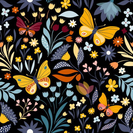 Floral seamless pattern with colorful butterflies Illustration