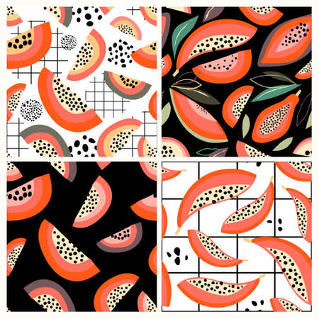 Summer seamless patterns set with papaya, abstract decorative design Illustration