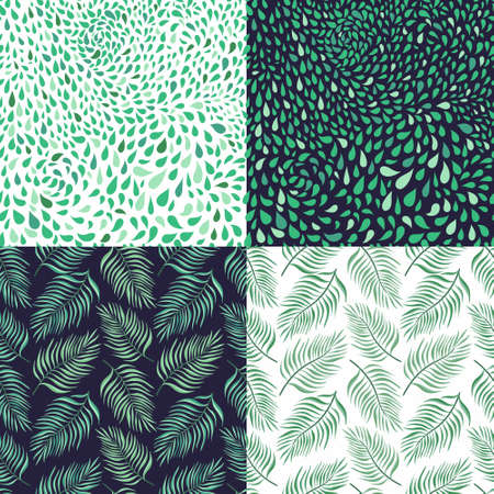 Tropical decorative seamless patterns set