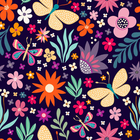 Floral decorative seamless pattern with colorful flowers and butterflies