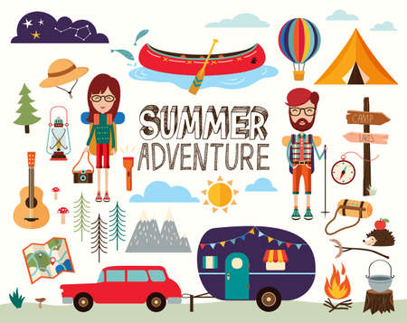 Camping elements collection with summer adventure theme