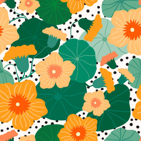 Floral seamless pattern with decorative orange flowers (nasturtium) and leaves