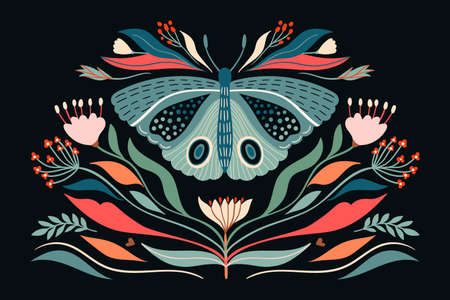 Decorative abstract poster/card/fashion textile illustration with moth and plants