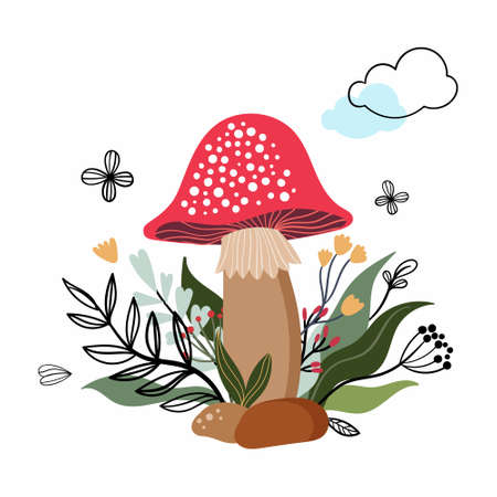 Decorative card/poster/fashion textile vector illustration with mushroom and plants, isolated on white background Illustration