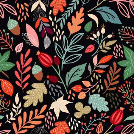 Autumn seamless pattern with seasonal design Illustration