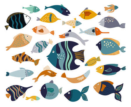 Fish collection with different decorative items isolated on white Illustration