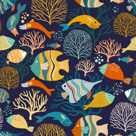Seamless pattern with colorful fish and aquatic plants