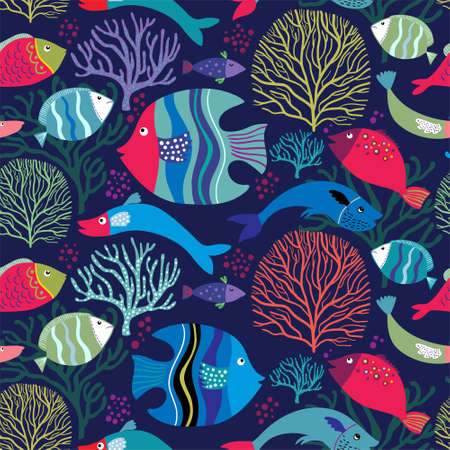 Decorative seamless pattern with colorful fish and aquatic plants