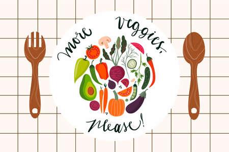Cooking poster or banner with fresh vegetables Illustration
