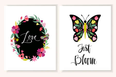 Floral greeting cards/ invitation set with decorative butterfly, and hand lettering on white background Illustration