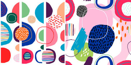 Abstract trendy seamless patterns set with hand drawn colorful round shapes