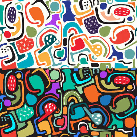 Seamless patterns collection with abstract hand drawn shapes on white/black background Illustration