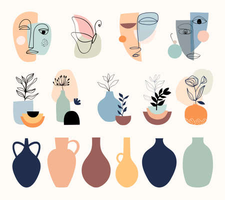 Abstract modern elements collection with various faces, modern line art shapes, contemporary design Vetores