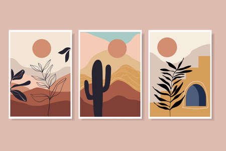 Abstract landscape posters, decorative wall art with desert, stairs, sun, plants, geometric shape, contemporary boho style Illustration