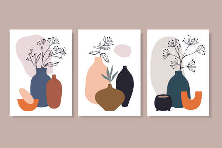 Abstract posters, wall art decoration, line art vector illustration, plants and vases, modern minimalist contemporary design