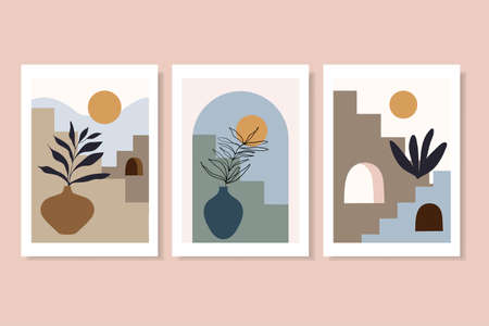 Abstract landscape posters, decorative wall art with stairs, sun, plants, geometric shape, contemporary design