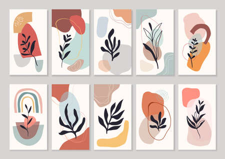 Abstract backgrounds social media, doodle shapes and plants modern contemporary design Illustration