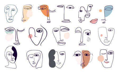 Abstract modern elements collection with various faces,  portraits, modern line art shapes,  contemporary design