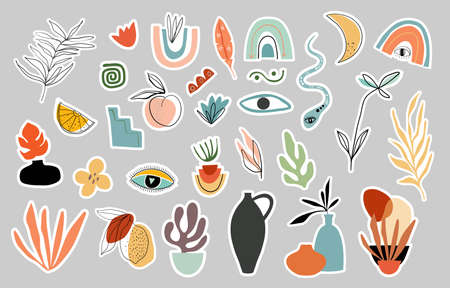 Summer stickers collection with modern elements, contemporary design