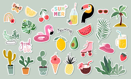 Summer stickers collection with different seasonal elements Illustration