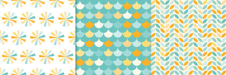 Summer seamless patterns set, abstract, geometric shapes Illustration