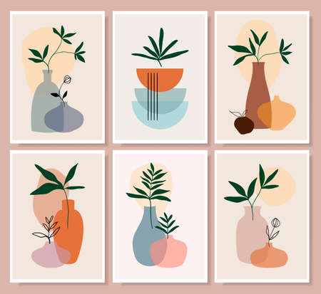 Botanical abstract wall art collection with summer green leaves in vases, still life, line art vector illustration, modern minimalist contemporary design