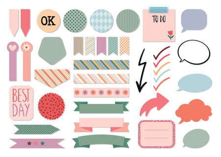 Stationery collection, planners templates for scrapbook, notebook, agenda, colorful labels