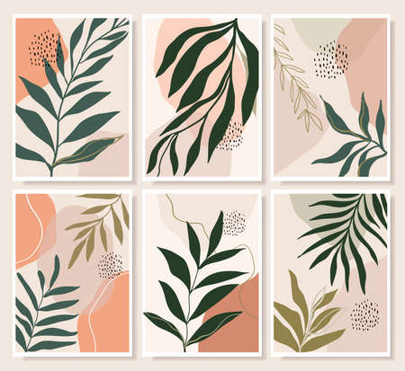 Botanical abstract wall art collection with summer leaves, doodle shapes, vector illustration, modern minimalist contemporary design