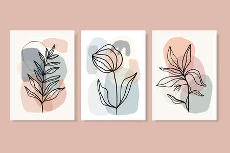 Abstract posters, wall art decoration, line art vector illustration, floral, modern minimalist contemporary design Illustration