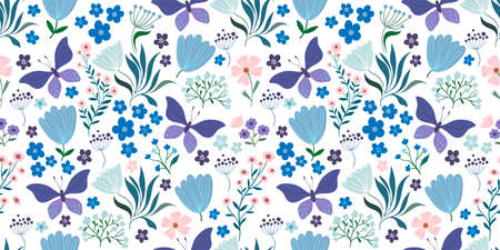 Spring and summer seamless pattern with floral design and butterflies on white background Illustration