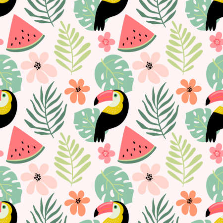 Summer seamless pattern with toucan bird, tropical leaves and watermelon Illustration