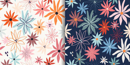 Floral seamless patterns set with abstract design