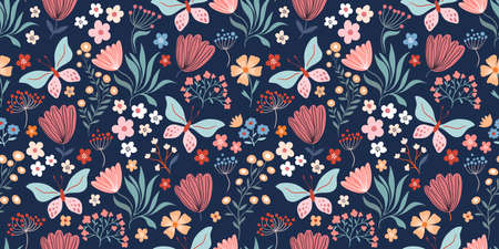Floral seamless pattern with butterflies, flowers and plants
