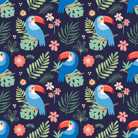 Tropical seamless pattern with toucans, flowers and leaves