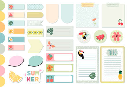 Summer stationery collection, daily planner stickers, templates for scrapbook, notebook, agenda, colorful labels, cute design Illustration