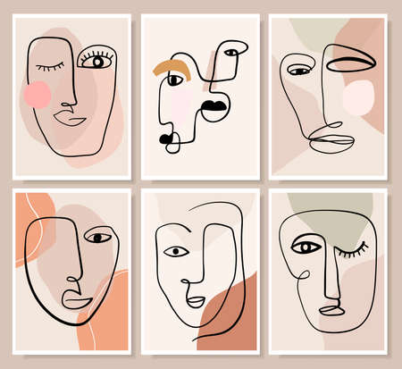 Abstract modern wall art collection with various faces,  portraits, modern line art, doodle shapes,  contemporary design Illustration