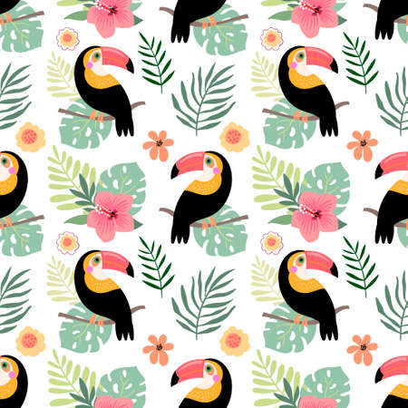 Summer seamless pattern with toucans and hibiscus, tropical design