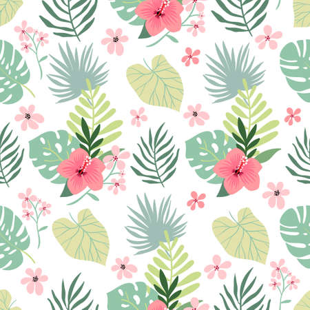 Tropical seamless pattern with hibiscus, flowers and leaves, summer design