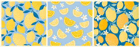 Lemon seamless patterns collection with three different design