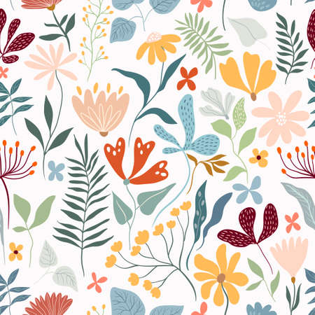 Floral decorative seamless pattern with different flowers and plants, summer design, white background