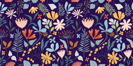 Floral seamless pattern with different flowers and plants, spring and summer design