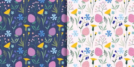 Meadow flowers seamless patterns set