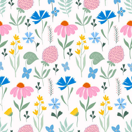 Meadow flowers elegant seamless pattern with various flowers and plants Illustration