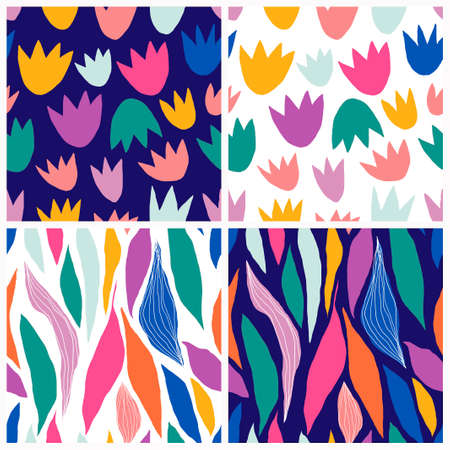Abstract seamless patterns set with decorative modern design, doodle shapes
