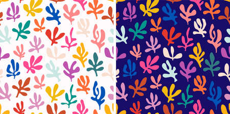 Abstract colorful seamless patterns set with doodle shapes, Matisse inspired