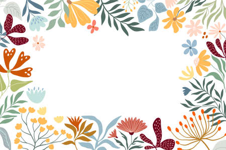 Floral border, decorative frame with different flowers and plants, white background