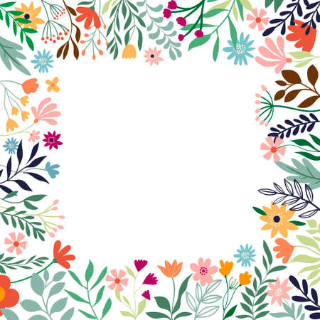 Ornamental floral border, decorative frame with different flowers and plants, template for summer sale, wedding invitations and other, white background Illustration