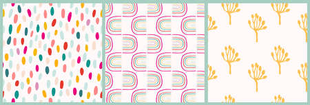 Abstract seamless patterns set with rainbow, plants and dots, three different artworks, modern design