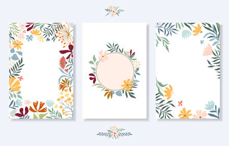 Floral wedding template set with cards and invitation, floral frame, floral wreath, borders, bouquets