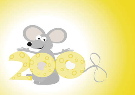 illustration with mouse and cheese illustration